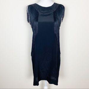 Rebecca Taylor black fringe jersey dress